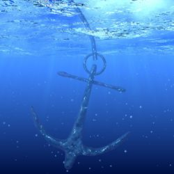 Anchor falling in water